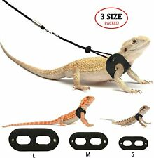 Bwogue Bearded Dragon Harness and Leash Adjustable Leather Lizard Reptiles Harne