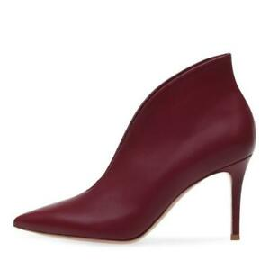 Women Ankle Boots Pointy Toe Stilettos High Heel Boots Slip On Shoes Party Court