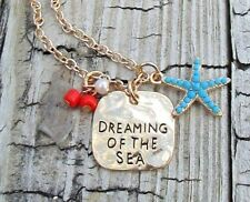 Beach Dreaming of The Sea Gold Chain Necklace Turquoise Starfish Charm Dog Tag
