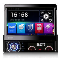 "7"" Single DIN DAB Radio Head Unit GPS Sat Nav Bluetooth Flip-Out CD DVD Stereo"