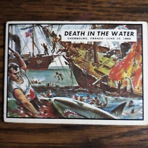 """1962 Topps Civil War News trading card #69 """"Death in the Water"""""""