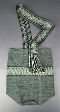 Green Bucket Shoulder Crossbody Boho Sling Festival Bag Tribal Ethnic Folk Purse