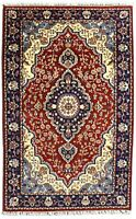 Handmade Area Wool Rug 4x6 ft Hand Knotted Carpet Red Blue 'Apraday' Traditional