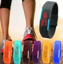 Mens Women Rubber HA Red LED Watch Date Sports OU Bracelet Digital Wrist Watch