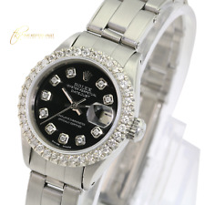 Rolex Lady  Datejust 26mm Black Diamond Dial Diamond Bezel  Approx 1.15CTW