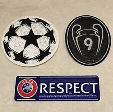 Set Of UEFA Champions League Respect + Star Ball + Trophy 9 Black Patch Badge