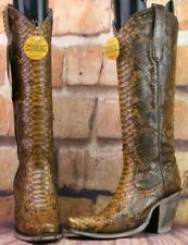 Corral Ladies Tan Full Python Snakeskin Zip-Up Knee-High Boots Defective Sz 6 M