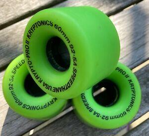 Vintage Skateboard Wheels NOS 60mm 92.5A Kryptonics Krypto-Pro ll Lime Green