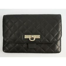 DKNY Quilted Nappa Black Leather Mini iPad Tablet Kindle Sleeve Clutch NWT