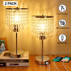 Crystal Touch Control Table Lamp, 3-Way Dimmable Bedside Lamps with Dual USB K9