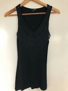 Ladakh XS Fit 8 Black Lace Yoke Stretch Tank Top