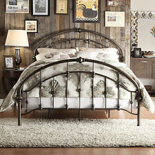 queen size panel bed antique iron metal frame headboard footboard furniture new - Wrought Iron Bed Frames