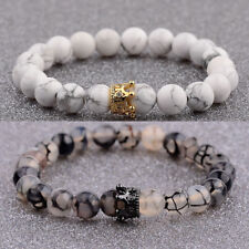 2Pcs/Set Couples Bracelet King and Queen Natural Stone Agate Bead Bracelets Gift