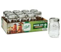 Ball Pint Canning Mason Jars Regular Mouth Lids & Bands Clear Glass 16Oz 12 Pack