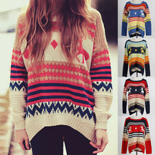 Women Knitted Printed Autumn Winter Casual Loose Sweater Blouse Pullover Jumper