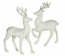 Raz Imports Reindeer Christmas Decoration Sparkly Glitter White Silver Statues