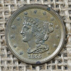 1855 1/2C UNC Braided Hair Half Cent, Olive Toning