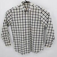 Peter Millar Mens Long Sleeve Button Down Shirt Sz Large Plaid Check 100% Cotton