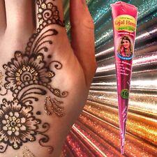 BEST BROWN QUALITY FRESH ORGANIC Henna Mehndi Tattoo Kit cones + RED GLITTER