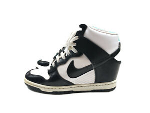 Nike Women's Sky Hi Dunk Black White Wedge Sneaker Shoe Size 7.5