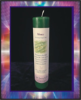 """7"""" CRYSTAL JOURNEY """"MONEY"""" POSITIVE AFFIRMATION PILLAR CANDLE REIKI CHARGED"""