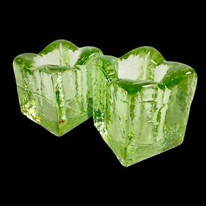 """Vintage Blenko Art Glass Candle Holder Recycle Glass 3""""T 2""""W Ice Cube Votive"""