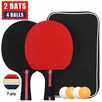 Table Tennis Set, Professional Ping Pong Racket Paddle Set with 2 Bats and 4