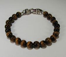 TIGERS EYE SPIRITUAL BEAD BRACELET~.925 STERLING SILVER~8MM~8 1/2 INCHES