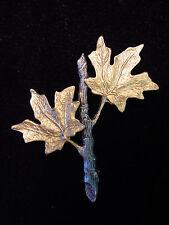 """""""JJ"""" Jonette Jewelry Silver & Gold Pewter 'MAPLE Leaf Branch' Pin"""