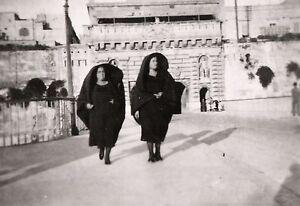 Women wearing Faldetta Malta . World War 2 photograph