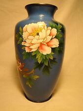 """Signed Hayashi Kiyoe Japanese Cloisonne Floral Vase 7 5/8""""h"""