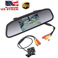 """4.3"""" Car TFT LCD Rear View Monitor Mirror + HD CCD Reverse Backup Camera Kit"""