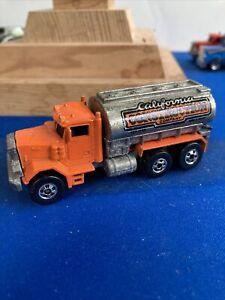 Vintage Hot Wheels Peterbilt Truck 1979 California Construction Orange Loose