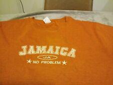 """Jamaica """"No Problem"""" Tropical Mens T Shirt XXL Orange,  soft, EUC"""