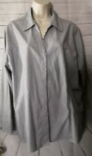 Riders By Lee Womans Pinstripe Shirt Size XXL Blue Long Sleeve PT/A-69