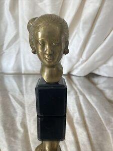 """Vintage 7"""" THANH LE NGUYEN Bronze Bust Sculpture Laotian Woman Vietnamese"""