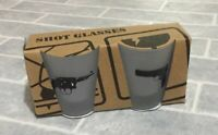 TOMS DEPOT Shot Glasses Set of 2 Drinks Gift Party BBQ Man Cave Home Pub Guns