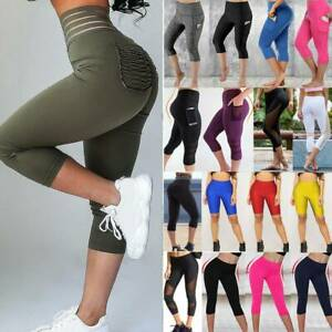 Womens 3/4 Capri Leggings Pockets Gym Fitness Sports Cropped Elastic Yoga Pants