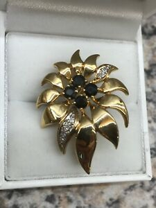 Large Flower Lily Sapphire And Diamond Brooch Set In 9ct Solid Gold