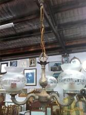 BEAUTIFUL ANTIQUE BRASS ART DECO 3 ARM CHANDELIER CIRCA 1930