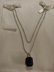 "TE Gorgeous Green Emerald Cut Pendant Silver Tone Chain Necklace Women 19"""