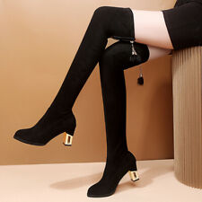 Womens Faux Suede Black Over Knee Riding Boots High Boots Heels Round Toe Shoes