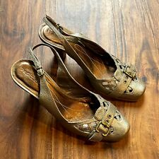 Women's Matisse Leather Slingback Shoes Size 9M Gold Sandal Heels Made in Brazil