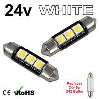 2 x White 24v 39mm Festoon Interior Plate Light 242 3 SMD C5W Bulbs HGV Truck