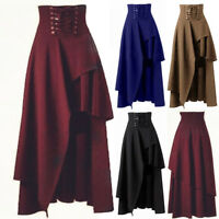 Gothic Flared Halloween Lolita Skirts Women High Waist Long Dress Swing Sundress