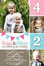 Personalised Photo Joint Birthday Party Invite Invitation