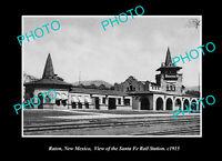 OLD POSTCARD SIZE PHOTO RATON NEW MEXICO THE SANTA FE RAILWAY STATION c1915