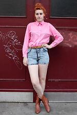 Damen Bluse blouse 80er True VINTAGE 80´s women pink Streifen glänzend stripes