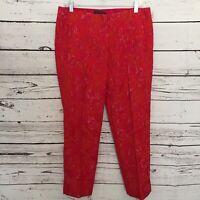 Elie Tahari Womens Sz 10 Textured Dress Pants Red Pink Orange Lace Crop H79
