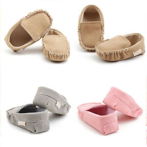Baby Newborn Toddler Boys Girls Velour Soft Crib Sole Soft Flats Moccasin Shoes